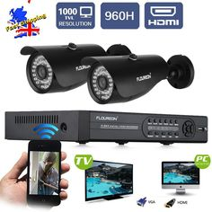 FLOUREON® 4CH 960H CCTV DVR Video Recorder with 2x 1000TVL Night Vision Weatherproof Bullet Cameras - Home Surveillance System, P2P Cloud Remote View, Smartphone View & Record, Motion Detection