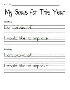 3rd Grade Thoughts: Student Goal-Setting Sheets for Parent-Teacher Conferences