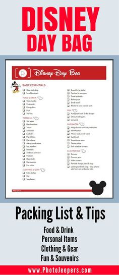 If you're planning a trip to Disney, you'll want to check out this Disney packing list first. It has everything you need to bring with you inside the Disney park including things to pack for kids. This packing list will be a lifesaver for Disney or any am Voyage Disney World, Viaje A Disney World, Disney Day, Disney World Trip, Disney Family, Disney World Hacks, Disney Worlds, Road Trip To Disney, Disney World Souvenirs