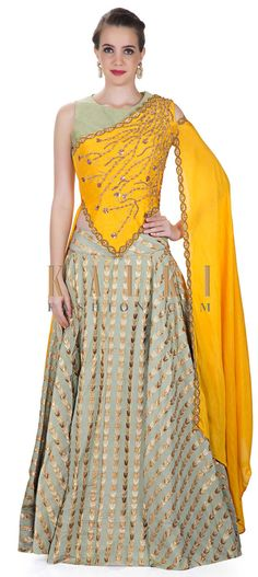 Olive Green Silk Lehenga with Yellow Fancy Top Featuring Cut Dan and Sequins only on Kalki India Fashion, Ethnic Fashion, Colorful Fashion, Indian Dresses, Indian Outfits, Stylish Outfits, Fashion Outfits, Fancy Tops, Indian Bridal Fashion