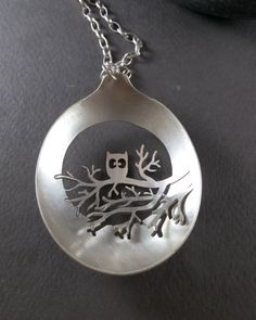 An Owl on a Tree Spoon Necklace, Handmade Full Moon Silver Owl Necklace