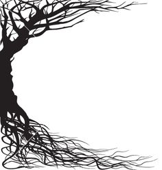 Tree silhouette vector by dagadu – Image – VectorStock - Modern Silhouette Images, Tree Silhouette, Silhouette Vector, Jungle Tree, Paper Cutting Patterns, Yoga Symbols, Art Nouveau Illustration, Book And Frame, Spooky Trees