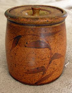 "Vintage TOM COLEMAN Studio Art Pottery 6.5"" Jar ~ SIGNED ~ Canby, Oregon"