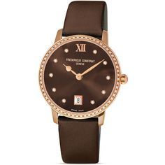 Frederique Constant Slim Line Joaillerie Rose Goldplated Chocolate... (144.805 RUB) ❤ liked on Polyvore featuring jewelry, watches, accessories, gold plated jewelry, slim watches, frederique constant watches, frédérique constant and rose jewellery