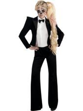 Adult Skeleton Tuxedo Lady Gaga Costume - I'm thinking of being her this year?? Lollz