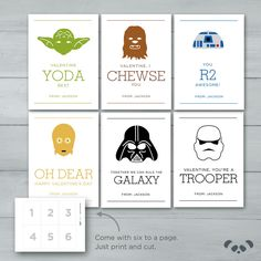 Star Wars Valentines  |  Yoda, Darth Vader, R2D2, Chewbacca, Storm Trooper, C3P0 Valentine Cards by PandafunkCreations on Etsy https://www.etsy.com/listing/264153377/star-wars-valentines-yoda-darth-vader