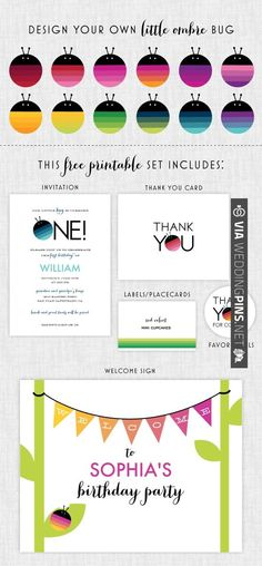 free printable party set - design your own little ombre bug | CHECK OUT MORE IDEAS AT WEDDINGPINS.NET | #printableweddingtemplates