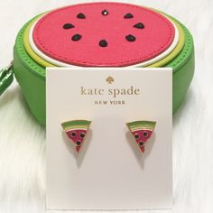 "NWT kate spade Watermelon Stud Earrings! NWT kate spade Watermelon Stud Earrings! 🍉 Comes with kate spade jewelry dust pouch.  DETAILS: * shiny 12-karat gold plated metal with glass stones and enamel fill FEATURES: * 14-karat gold filled posts DETAILS * weight: 3.35g * drop length: 1/2"" * width: 1/2"" * handcrafted. 🚫TRADES kate spade Jewelry Earrings"