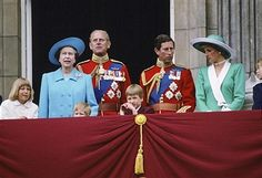 Members Of The Royal Family On The Balcony At Buckingham Palace For Trooping The Colour. From Left To Right: Lady Gabriella Windsor, The Queen, Prince Harry, Prince Philip, Prince William, Prince Charles And Princess Diana.