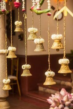 Looking for Hanging temple bells South Indian decor? Browse of latest bridal photos, lehenga & jewelry designs, decor ideas, etc. Ramadan Decoration, Marriage Decoration, Diwali Decorations, Festival Decorations, Flower Decorations, Hanging Decorations, Housewarming Decorations, Ganapati Decoration, Wedding Hall Decorations