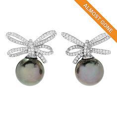 "168-607 - Gems of Distinction™   ""Gaea"" 14K White Gold 12mm Tahitian  Cultured Pearl &  Diamond Earrings"