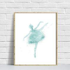 Ballerina Watercolor Art Print, Ballerina Painting, Home Wall Décor, Silhouette Ballerina, Turquoise Ballerina Printable, Digital Ballerina