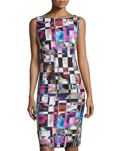 Cubist-Print Midi Sheath Dress, Multicolor by Milly at Neiman Marcus.