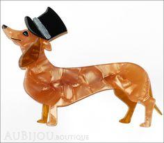 Erstwilder Dog Brooch Pin Dapper Dachshund Pearly Peach