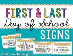BACK TO SCHOOL FREEBIE --- FIRST AND LAST DAY OF SCHOOL Signs for all students in grades Preschool to 5th Grade! Take individual photos of your students holding this sign on the first day of school/beginning of the school year and on the last day of school/before graduation.