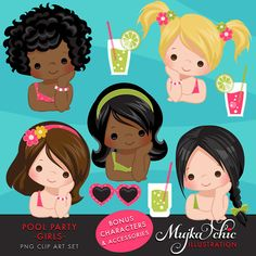 Pool Party Clipart for Girls Backyard pool party for little girls! This adorable set comes with 24 high quality graphics featuring cute little characters