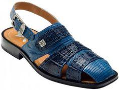 """SKU#JR6823 DAVID-Eden Mens """"Sandy"""" Navy / Blue Genuine Crocodile / Lizard Sandals $189 Dress Shoes Belvedere Exotic Skin Shoes Fashion Sandals, Men Sandals, Leather Sandals, Leather Boots, Sandals 2014, Men's Shoes, Dress Shoes, Dress Sandals, Shoes Men"""