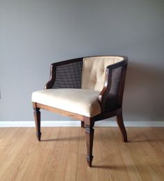 Vintage Cane Club Chair With Tufted Back. Retro Mid Century Furniture U0026  Home Decor.