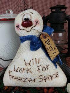 E-Pattern - Freezer Space Snowman Pattern #118 - Primitive Doll/Ornie E-Pattern