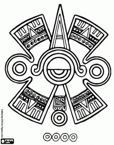 Mayan Eye, typical representation of the ancient Mayan culture coloring page