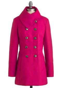 Magenta Agenda Coat - Pink, Solid, Buttons, Long Sleeve, Winter, Long, 3