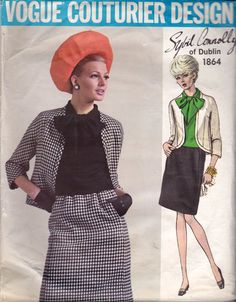 1960s Vogue Couturier Design SYBIL CONNOLLY Skirt Suit and Blouse Vintage Sewing Pattern Size 12 Bust 34 inches UNUSED Factory Folded