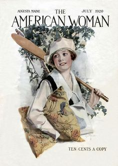 Art from: American Woman Woman carrying canoe paddle, pillow, and magazine, with tree in background Vintage Posters, Vintage Art, Vintage Ladies, Old Magazines, Vintage Magazines, Nostalgic Art, Cover Boy, Catalog Cover, Emotion
