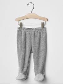 Velour footed pants. Product Image