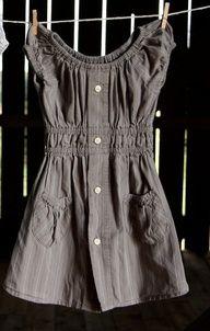 Ιδέα για το πώς ένα ανδρικό πουκάμισο μπορεί να γίνει γυναικεία τουνίκ!  Men's shirt upcycle