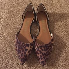 POINTED LEOPARD FLATS Only worn once!!! In perfect condition! Sam & Libby Shoes Flats & Loafers