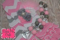 Pink / Gray / White CHEVRON leg warmer / by CutesiePieCrafts, $25.00
