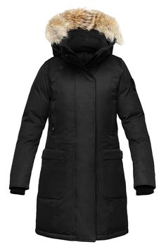Nobis Merideth Ladies Parka in Black Stay warm and dry no matter the weather in this Nobis winter jacket. Premium Canadian duck down insulation provides maximum warmth with minimal bulk to ensure you'll look just as good as you'll feel in the Merideth parka. Classic style cutting edge technology: The Merideth parka features a timeless design ensuring that your investment in such a high-quality jacket will be a decision you feel great about through many winter seasons of changing trends…