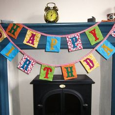 Cheery bright cotton prints with square flags give this Birthday Bunting a party feel. Perfect to welcome your birthday guest whatever their age! Diy Birthday Banner, Happy Birthday Bunting, Birthday Letters, Happy Birthday Messages, Birthday Ideas, Bunting Garland, Fabric Bunting, Bunting Flags, Buntings