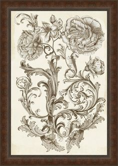 In Bloom 'Flora & Filigree I' Framed Painting Print