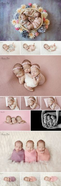 Fraternal triplet girl newborn photo shoot in studio. Lots of fun posing and props. Sunny S-H Photography Winnipeg
