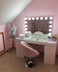 Hollywood Makeup Vanity Mirror with Lights-Impressions Vanity Glow Pro Makeup Vanity Mirror + SlayStation® Pro Tabletop + 2 Drawers Cute Room Decor, Teen Room Decor, Room Ideas Bedroom, Tabletop Vanity Mirror, Makeup Vanity Mirror With Lights, Makeup Vanity Lighting, Makeup Room Decor, Makeup Rooms, Hollywood Vanity Mirror