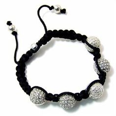 Unisex 9mm Ice CZ Cubic Zirconia Crystals and Silver Balls Shamballa Fashion Bracelet 5 Balls - Adjust to Fit with Tie Cord Shamballa by Ks Charming Designs. $21.00. Adjusts to Fit with Ties - Black Cotton Cords. The new trend in Jewelry - Shamballa Bracelets - Worn by ALL the celebrities. Comes in Gift Packaging BY KS CHARMING DESIGNS!. Features 5 - 9mm Balls of CZ Crystals. Silver Tone Balls and Cubic Zirconias