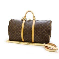 Louis Vuitton Keepall Bandouliere 55 Monogram Handle bags Brown Canvas M41414