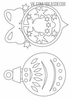 DIY: Two Christmas ornaments template/stencil. Christmas Stencils, Christmas Wood, Christmas Balls, Christmas Colors, Christmas Projects, Holiday Crafts, Christmas Pictures, Kids Christmas, Christmas Ornament Template