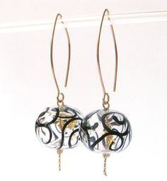 lampwork glass earrings. Transparent hollow beads by anatglass
