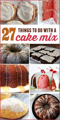 27 Things to do with cake mix. Cake mix cookies, bars and cakes all starting wit… 27 Things to do with cake mix. Cake mix cookies, bars and cakes all starting with cake mix. Recipes Using Cake Mix, Box Cake Recipes, Cookie Recipes, Dessert Recipes, Cake Mix Desserts, Cake Mix Cookies, Easy Desserts, Delicious Desserts, Cake Mix Muffins