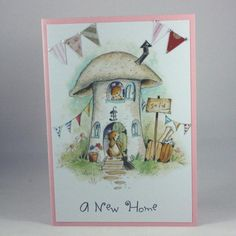 sized new home card. The card features a cute image of mice making a new home in a toadstool, courtesy of Lili of the Valley. The card com. New Home Cards, House Of Cards, Pink Envelopes, Cute Mouse, Cute Images, Teal Colors, Christmas Time, Projects To Try, Handmade Items