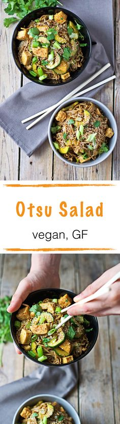 #Otsu #Salad. It's #vegan and full of fresh scallions and cucumbers, with awesome crispy tofu.