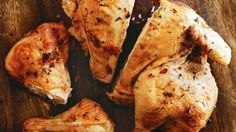Spatchcocked barbecued chicken with preserved lemon butter