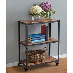 The Wood and Metal Rolling Cart features an antique wooden finish along with a distressed metal frame, which will complement any home décor. The sturdy cart can be moved around easily and conveniently be used as storage. Dining Room Office, Office Decor, Basement Office, Office Ideas, Printer Stand, Printer Cart, Wood Cart, Small Space Office, Office Spaces