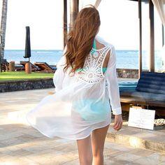 aa56c85686517 Swimwear pareo Women s Crochet Beach Cover Up Swimwear Summer Casual Dress Ladies  Sexy White Bathing Suit Cover Ups Swimwear pareo Women s Crochet Beach ...