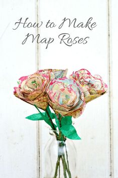 Step by step tutorial on how to make this gorgeous table decoration of map roses.  They also make a great Valentine's gift as you can personalize with the maps.
