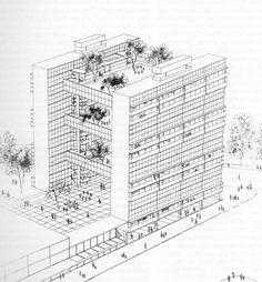 Sketch for Hanging Gardens, Hemel Hempstead (1955) by Walter Segal.Image from relational thought