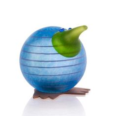 Kiwi Paperweight: 24-02-41 in Light Blue, Hand-Blown Art Glass by Borowski Glass Studio