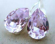 Lavender Silver Estate Style Vintage Earrings Wedding Jewelry Violet Earrings Bridal Earrings Bridesmaids Gift